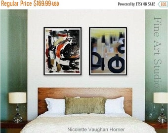 SALE Original  Abstract paintings on cold pressed French Cotton,set of two  by Nicolette Vaughan Horner