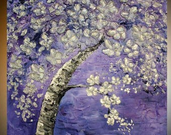 Large Oil Landscape painting Abstract Original Modern palette knife  Cherry Blossom Tree  impasto oil painting by Nicolette Vaughan Horner