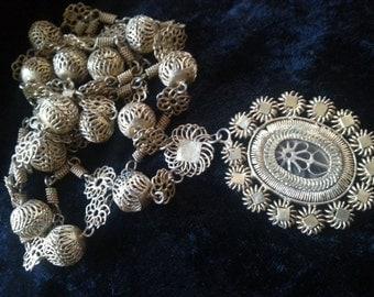 Now On Sale Vintage Statement Pendant Necklace, 1900's Gold Filigree Flower Victorian Cannetille Edwardian Etruscan Wire Work Filigree