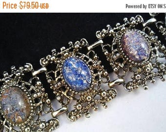 Now On Sale Orange Green Gold Blue Chunky Glass Stone Bracelet, Vintage Rhinestone Bracelet, Mid Century Costume Jewelry, 50's 60's Estate