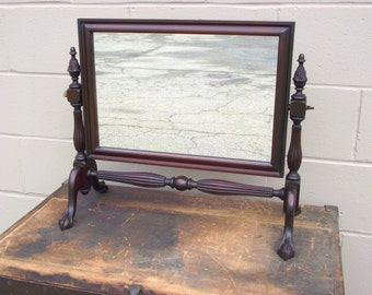 Mahogany Chippendale Cheval Dresser Mirror - Carved Ball and Claw Feet - Antique - Shaving Makeup Mirror with stand and Tilting Mirror
