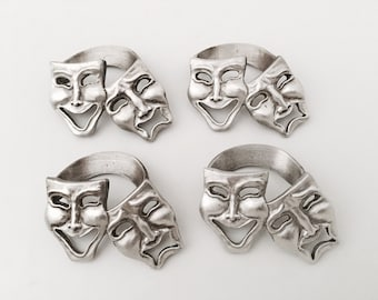 Theatre Napkin Rings Pewter - Musical Theatre Gifts - Napkin Holder - Theatre Mask - Theatre decor Vintage Theatre Sign Pewter Kitchen Table