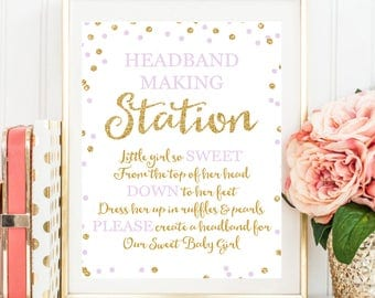 Headband Sign, Headband Station Sign, Headband Baby Shower Sign, Baby Shower Printable, Gold Glitter Lavender Gold Baby Shower BB18