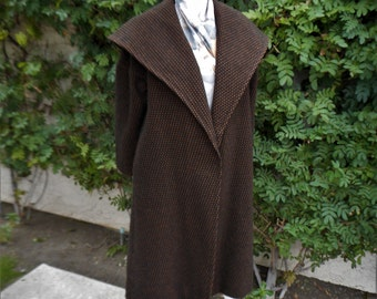 Vintage 1950's Royal Seal Black and Brown Wool Swing Coat - Size M/L