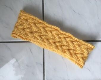 Light Yellow Cable Knit Headband