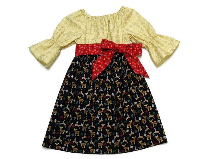 girls christmas peasant dress reindeer snowflake black and cream red sash size 6 12 month - 12 Month Christmas Dress