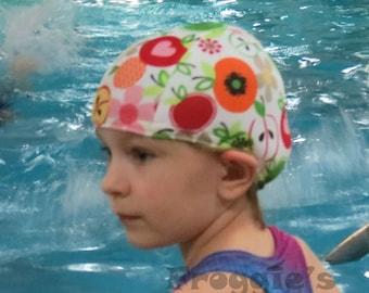Lycra SWiM CaP - TUTTI FRUTTI - Sizes - Baby , Child , Adult , XL - Made from Spandex / Swimsuit Swimming Fabric -by Froggie's Swim Caps