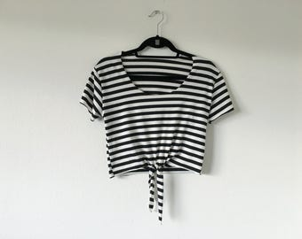 Rebel Tie Jail Stripe Crop Top Small Medium Large Extra Large Made to Order 90's Inspired Summer