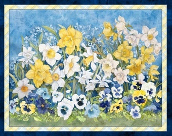 fabric panel  WALKING ON SUNSHINE-yellow blue pansies daffodils- by Wilmington Fabrics- 24 by 44 inches-