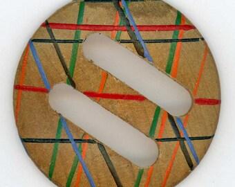 Vintage Wood Buckle or Scarf Slide ~ 1-3/4 inch 44mm ~ Mod Multi-Color Painted design ~ Wooden Belt Buckle