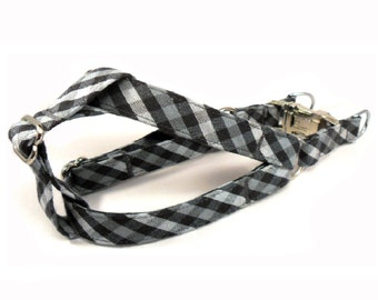 Check in Gray Dog Step in Harness