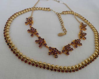 Two Vintage rhinestone/ diamante necklaces red and amethyst colour