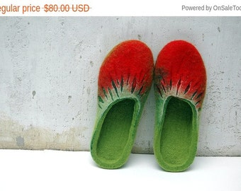New Year sale Felted Slippers Summer Berries Handmade Red Green Strawberries Women home shoes Women winter shoes 100%  wool Gift for her