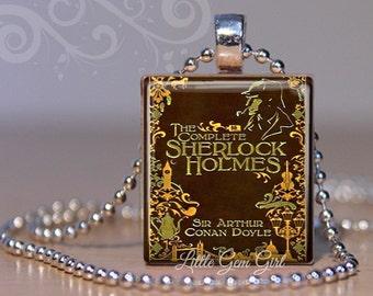 Vintage Sherlock Holmes Book Necklace Pendant - Mystery Novel Book Lover Scrabble Jewelry Librarian Teacher Gift