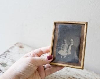 Vintage Gold Frame Children Antique Gold Ornate Frame Photograph Ghostly Spooky Photo Halloween Decor Journal
