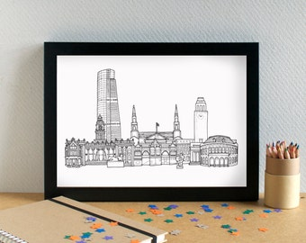 Leeds Landmark Print - Leeds Print - Leeds Art - Leeds Wedding Gift - Bon Voyage Gift - Housewarming Art - Yorkshire Art - New Home