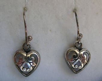 Vintage Sterling Silver Filigree Heart Drop Earrings