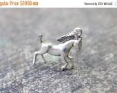 SALE Horse Pendant / Sterling Silver Charm / Vintage Equestrian Pendant