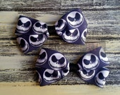 Jack Skellington Piggytail Bows on Alligator Clip - Pigtail Bow Clip - Nightmare Before Christmas Cosplay Hairbow - Hair Clip