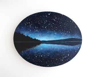 Night Sky Lake Oval Painting