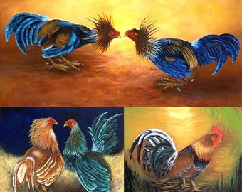 """Mother's Gift !! The Best Cuban Art. Oil painting  18""""x 22""""   """"Roosters Collection"""""""