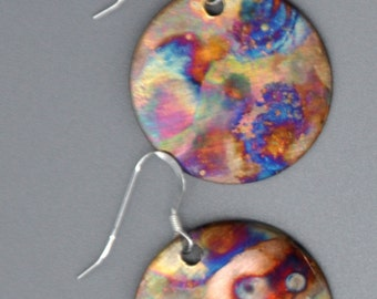 Flame Painted Copper earrings - called Simply Circles - Copper Earrings - Copper Jewelry - Copper and leather - please READ DESCRIPTION
