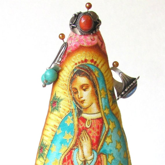Our Lady of Guadalupe Fabric COLOSSAL Style Earring TREE-Stand Ready to Ship