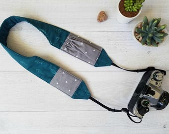 Cross Body Camera Strap with Pockets | Teal Padded and Contoured DSLR Strap with Gray Lens Cap Pockets