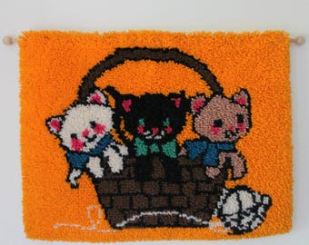 Vintage Handmade Kittens in Basket Latch Hook Yarn Wall Hanging 1970s