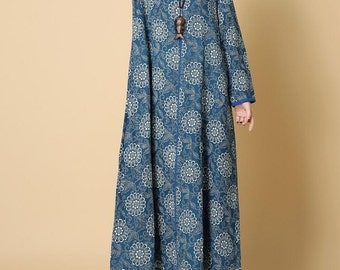 Women Loose cotton and linen spring long dress long Robe in light blue/ dark blue