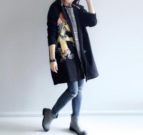 Leisure cotton hooded coat/ Plus velvet hooded womens windbreaker coat