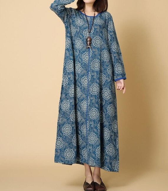 Women Loose cotton and linen spring long dress long Robe in light blue/ dark blue