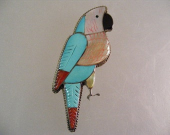 Vintage Native American Zuni Signed Parrot Inlaid Pin Pendant.....  Lot 5019