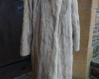 vintage women's genuine mink fur coat honey blonde 1960's MOD retro clothing long stroller