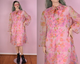 70s Floral Print Sheer Dress/ XL/ 1970s/ Long Sleeve