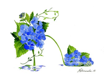 Blue Hydrangea & Vine Flower Shoe Print - Enhanced with Watercolor Paint and signed- Wall Art - Free Shipping