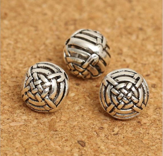 1pc 10mm 925 Sterling Silver ball Beads, good luck knot beads , Antique Silver Round Bead