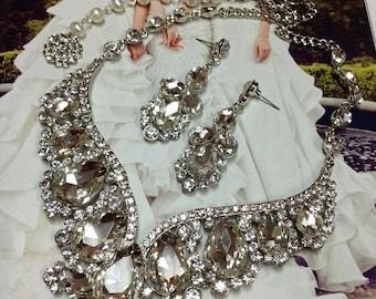 Wedding jewelry set, Bridal jewelry, backdrop necklace earrings, crystal necklace, bridal necklace statement, Ballroom crystal jewelry set