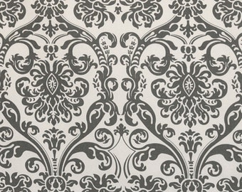 Flamingo Gray White Abigail Damask Curtains  Rod Pocket  63 72 84 90 96 108 120 Long x 25 or 50 Wide