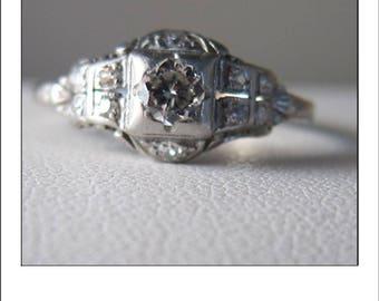 Antique Deco Platinum Diamond Tiered Engagement Ring