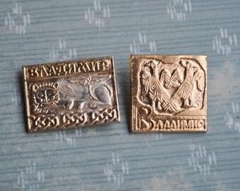 """Set of 2 Vintage Soviet Russian badges,pins.""""Russian city-Vladimir"""""""
