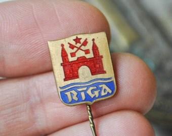 "Vintage Latvian enamel badge,pin. ''Riga""'."