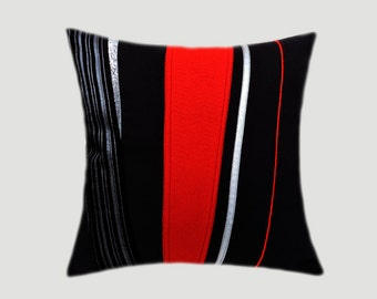 """Decorative Pillow Case, Black Throw pillow case with Abstract Red, Black, Silver accent, fits 18""""x18"""" insert, Toss pillow case."""