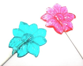 12 LARGE FLOWER LOLLIPOPS- Garden Tea Party Favors, Flowers, Wedding