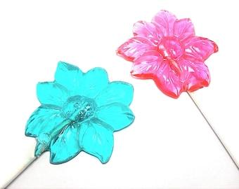12 LARGE FLOWER LOLLIPOPS- Garden Tea Party Favors, Flowers, Wedding