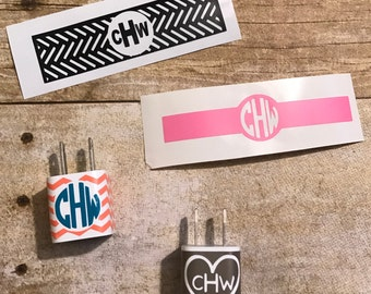 Charger decal, iphone decal, iphone charger decal, chevron decal, monogram charger decal