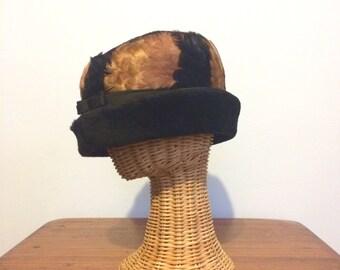 Vintage 60s Feather Hat / Pillbox Black Brown Mid Century Hat / Ladies Dress Hat