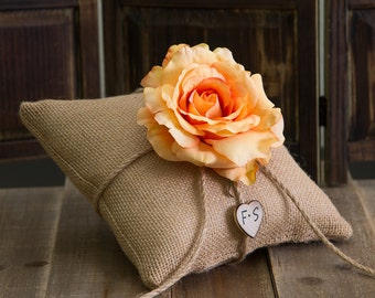 Peach Rose Ring Bearer Burlap Pillow. Customize with flower and bride and groom initials