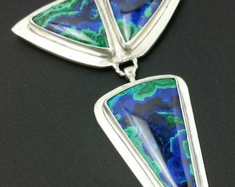 Azurite 3 Stone Silver Pendant Azurite Necklace Silver and Stone Pendant