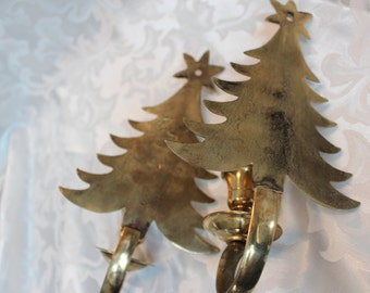 Solid Brass Vintage Christmas Tree Wall Sconces  - Candle Holders - CandlestickHolders
